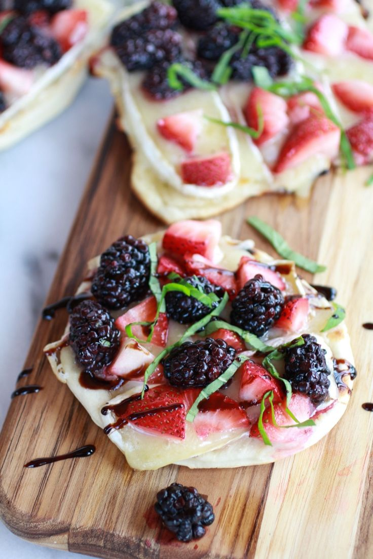 Grilled Blackberry, Strawberry, Basil and Brie Pizza Crisp with Honey Balsamic Glaze