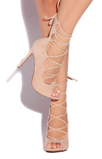 NUDE LACE UP HIGH HEELS CAGED PEEP TOE OPEN STILETTO PLATFORM PUMPS ANKLE NEW #SR #LaceUps