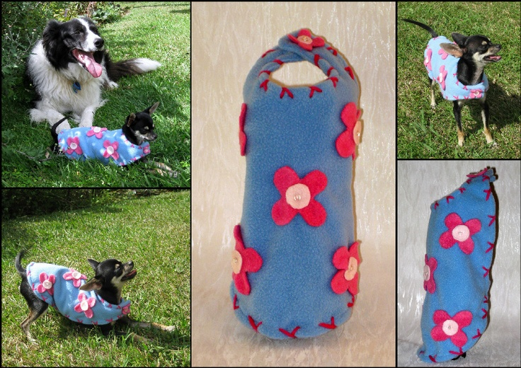 Crazy Daisy Flower Wrap.   Fabric - Blue Polar fleece (Lined) with Pink flowers,beads & stitching.  Super comfy & snuggly for a play in the park. Add a little spring into your winters day :)  FIFI & BEAU ~ Designer Dog Wear. One-of-a-kind & Limited Edition, quality Dog apparel. We ship worldwide.