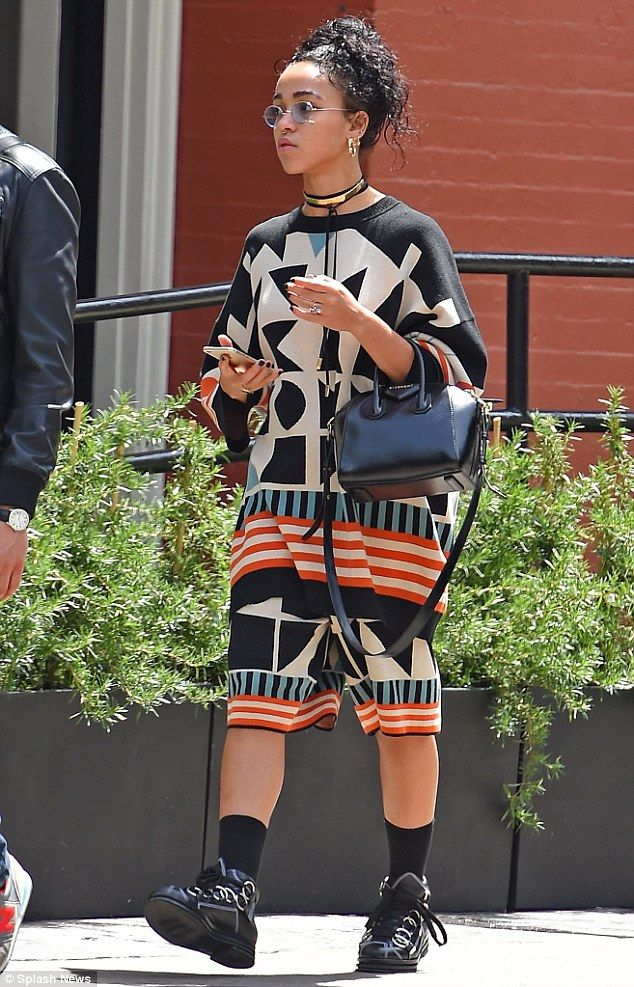 Low-key: FKA twigs was spotted running errands in New York on Wednesday in a casual, colou...