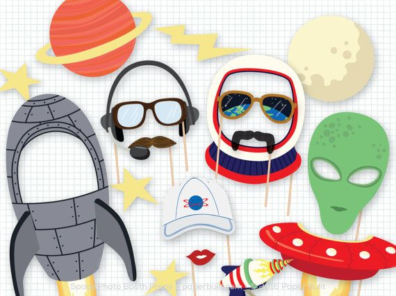 Blast off with this out of the world set of photo booth props!SThis listing is for a printable PDF of my space photo booth props. There are 21 fantastic props in this collection including a rocket, flying saucer, alien, and many more. Nothing will be emailed or shipped to you! The PDF