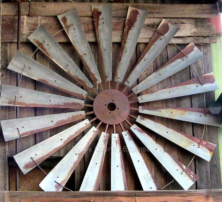 """60"""" Rustic Windmill Head Fan Blades Western Ranch Barn Farmhouse Yard Decor #Country"""