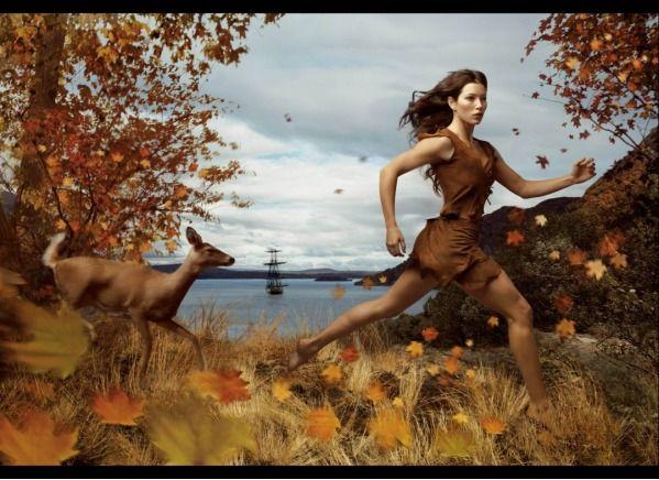 10 Pocahontas - Jessica Biel rocks an action shot of herself dressed as Pocahontas :)