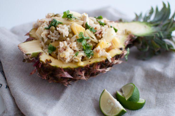 Steikt ris med kylling og ananas