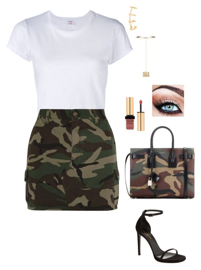 Untitled #2532 by janglin725 on Polyvore featuring polyvore mode style RE/DONE Yves Saint Laurent fashion clothing