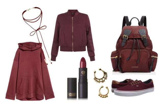 """Burgundy Autumn"" by eline-storli on Polyvore featuring Monki, Vans, New Look, Lipstick Queen, Burberry and Miss Selfridge"