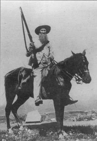 "Boer mounted ""commandos"" made formidable guerrilla foes of the British Army during the Second Anglo-Boer War, 1899-1902.  The Boers were notoriously excellent marksmen, especially on horseback."