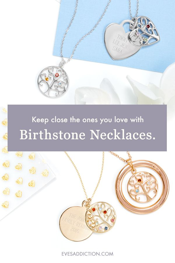 Create unique birthstone necklaces with loved one's birthstones for the perfect custom gift. Save 30% and receive free shipping when you customize today! Ships in 24 hours, custom birthstone jewelry allow you to engrave names or initial for a personalized touch. When all your searching for a unique gift is exhausted, select from 100s of Eve's Addiction birthstone styles to celebrate any birthday and anniversary or to make a perfect Christmas gift or Mother's Day gift. #birthstone