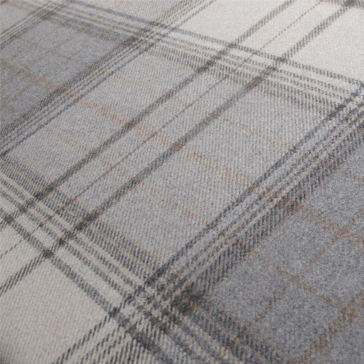 Tartan Plaid Grey Wool Curtain and Upholstery Fabric | Iona Flint Plaid from Loome Fabrics