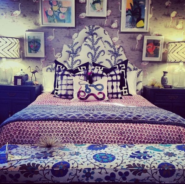 john robshaw upholstered headboard, swan wallpaper, suzani bench, mixed bedding, shibori pillows, snake pillow, furbish studio