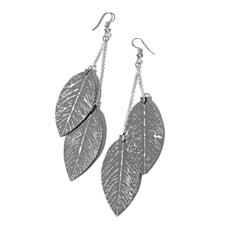 Upcycled leather leaf earrings. Recycled leather is hand printed with real rose leaves and fabric paint.