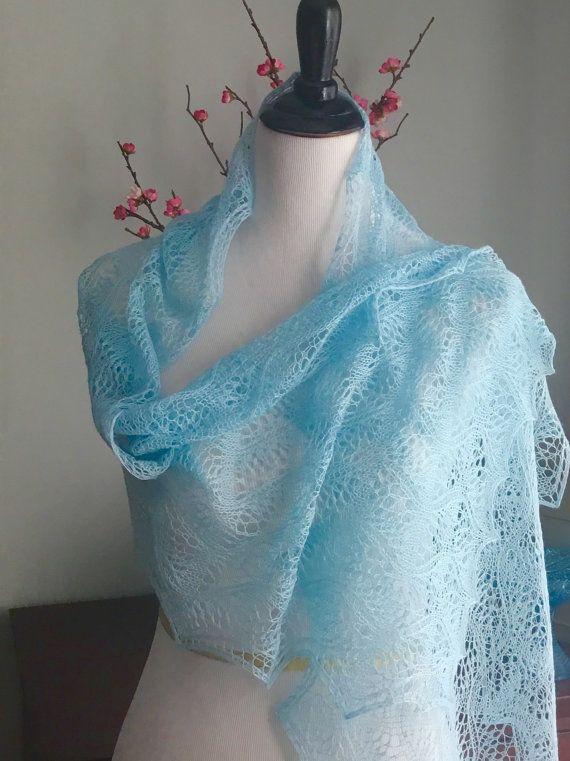 Hand knit lace shawl light blue knit merino lace by Tricotare