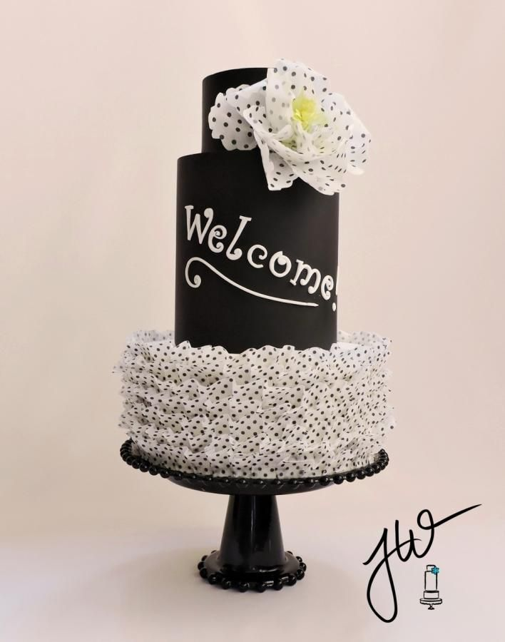 This a cake I made to welcome everyone to my new cake page. It is inspired by the wonderful art of Kara's Couture Cakes, specifically her Black Tie Affair cake. I used the fabulous wafer paper ruffle tutorial by McGreevy Cakes. I pulled out some...