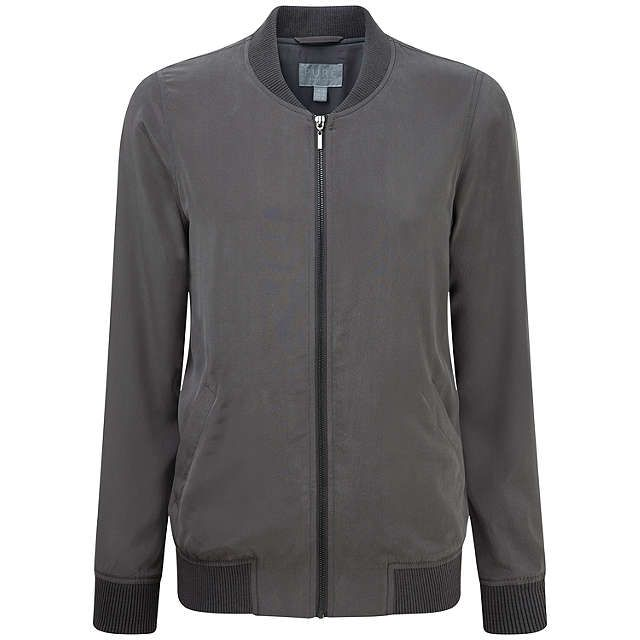 BuyPure Collection Renee Silk Bomber Jacket, Pewter, 16 Online at johnlewis.com