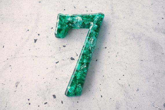 Decorative Number 7. Resin Number Seven in by WordosaurusText, $13.00