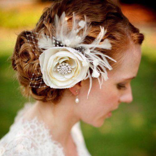 Bridal Hair Fascinator, Ivory Woodland Wedding Flower - MELIANA | yjdesign - Wedding on ArtFire
