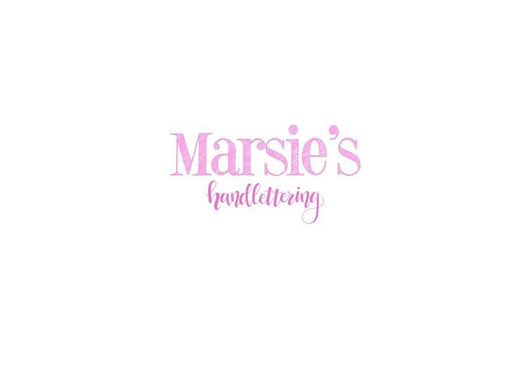 Mijn logo! 😃 Marsie's, logo, handlettering, handletteren, website, instagram, facebook, brushlettering, typografie, letterkunst, roze, lettertype, handgetekend, tekening, handgemaakt.