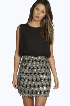 Boutique Naya Sequin Chiffon Bodycon Dress at boohoo.com