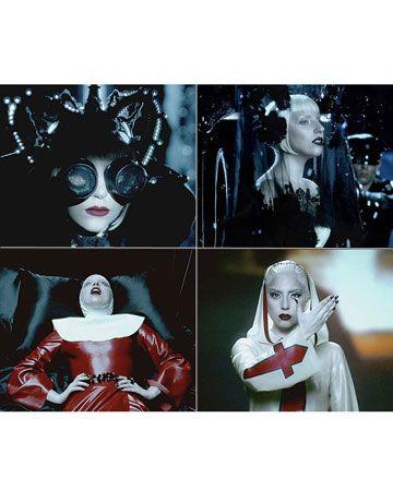 Lady Gaga in the Alejandro music video 2010, from top left : Nasir Mazahar headpiece, Philip Treacy for Alexander McQueen headdress Jaiden rVa James hooded dress, Atsuko Kudo nun costume
