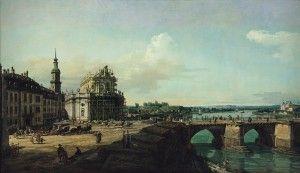Bernardo Bellotto, La Hofkirche di Dresda con il castello e il ponte di Augusto (Dresda dalla riva sinistra dell'Elba),1748, Olio su tela, 134 x 231 cm