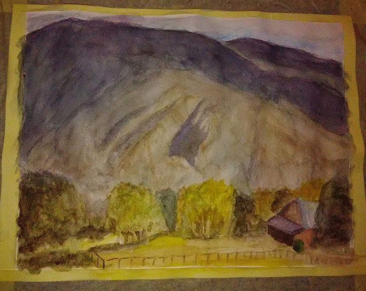 usadlosť pod skalami - akvarel