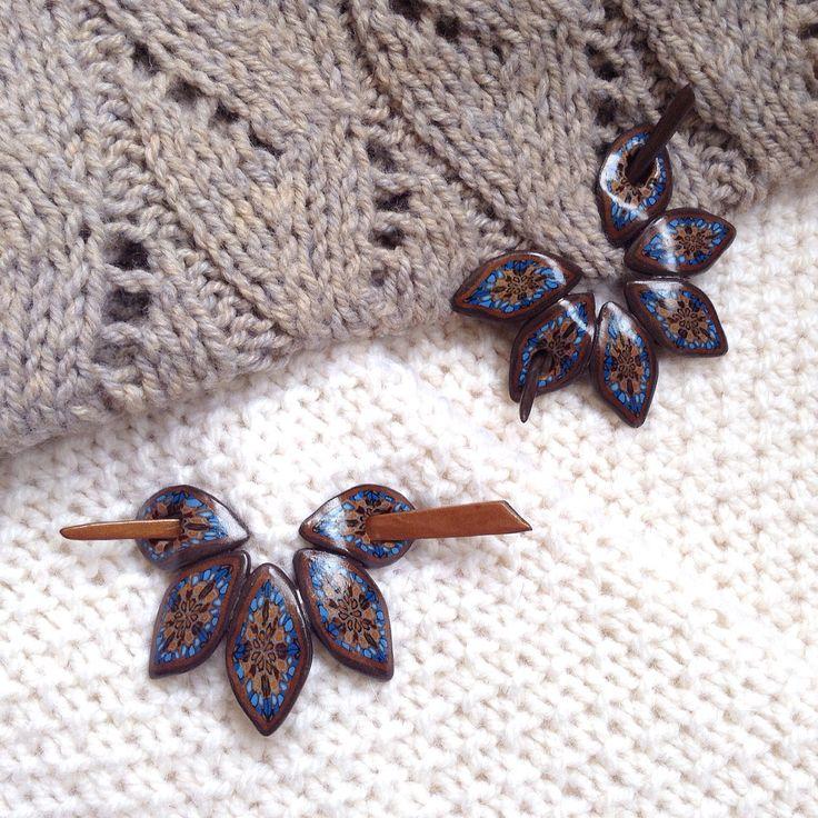 Заколки для трикотажа из полимерной глины. Ручная работа. Polymer clay shawl pins.
