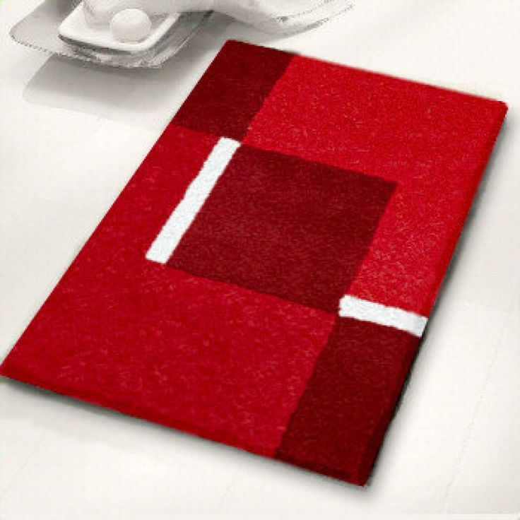 Contemporary Black And White Bath Rugs Vita Futura Inside Red For