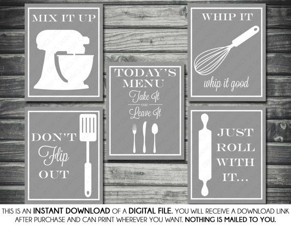 Kitchen Printable Artwork Bundle - Don't Flip Out, Mix It Up, Just Roll With It, Whip It Good, Today's Menu, Gray, White, Printable, Digital on Etsy, $12.00