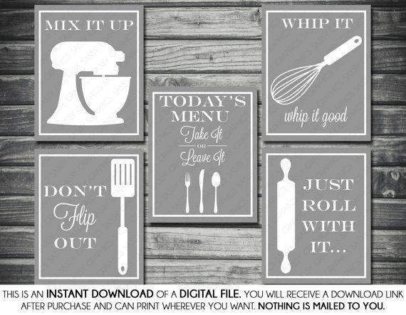 Kitchen Printable Artwork Bundle  Don't Flip by SassyGraphicsNow, $12.00