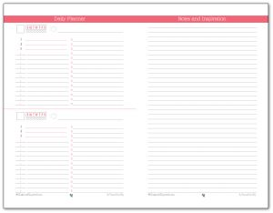 Half-Size Daily Planner and Notes page printable in Blush