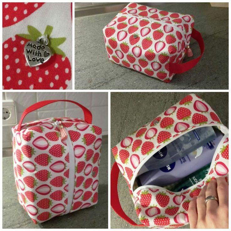 Kulturtasche / Kosmetiktasche selbstgenäht / diy / sewing  Erdbeeren / strawberries