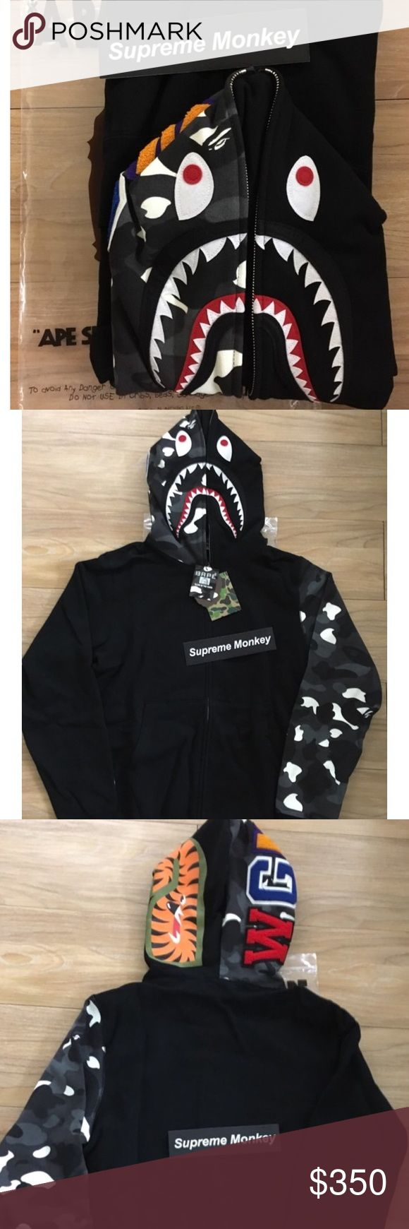 A bathing ape(bape) black glow in the dark camo Original sale price was 550 bought off the grailed website so it's 100% real guaranteed. Comes with original tags and dustbag. Worn 3x so it's great condition. Never washed it's a large so it fits a large or medium person because of Japan  fitting size a bathing ape Shirts Sweatshirts & Hoodies