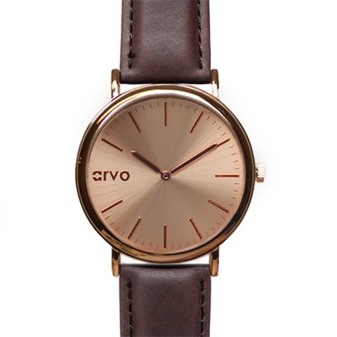 Genuine leather minimalist watch for men and women