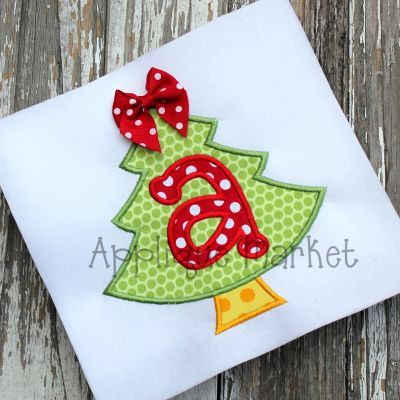 Machine Embroidery Design Applique Christmas Tree Alpha INSTANT DOWNLOAD