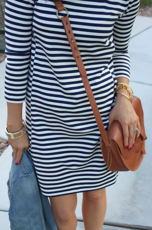striped dress / denim jacket / cognac bag