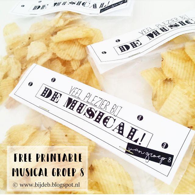 Leuke printables om een zakje met chipjes of schijfjes komkommer mooi te maken. Van bijdeb.