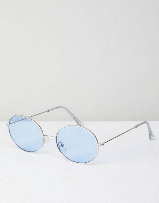 af2a2a7be8 Gafas de sol ovaladas de metal estilo años 90 con lentes azules de | GAFAS  | Gafas, Lentes, Gafas de sol