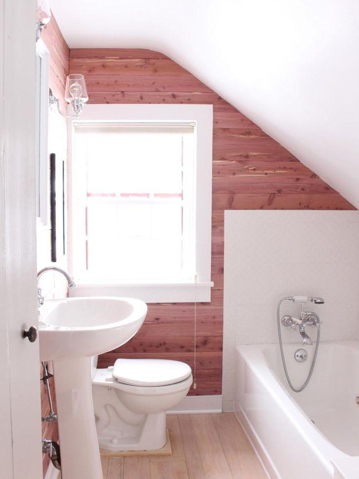 DIY bathroom makeover with cedar planked walls