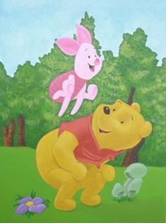 Winnie the Pooh & Knorretje muurschildering in kinderkamer