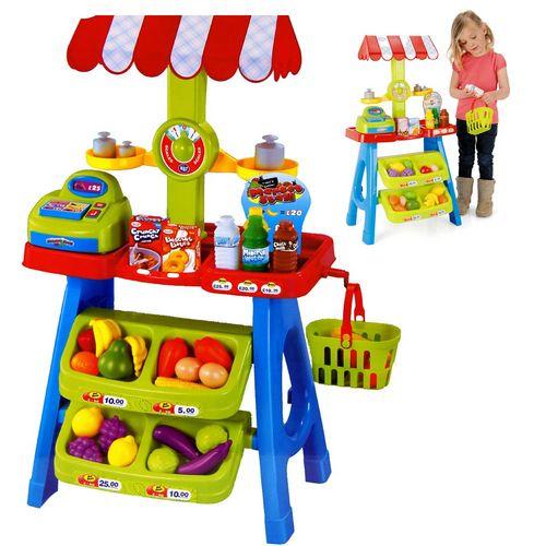 Barraca Infantil De Feira Mini Mercado Com Frutas Balança Cesto Compras Brinquedo Minha Fruteira - B