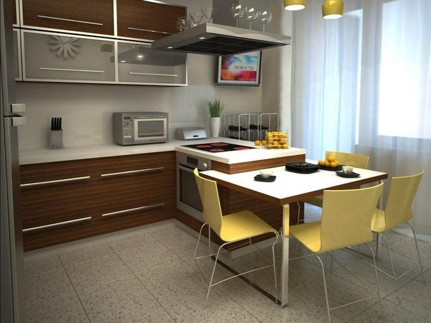 Фотография: Кухня и столовая в стиле Современный, Квартира, Советы, Уютная квартира, кухня в хрущевке, как обустроить кухню в хрущевке, малометражная кухня, зонирование кухни в хрущевке – фото на InMyRoom.ru
