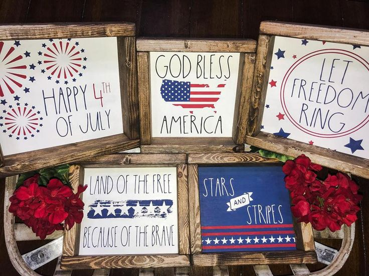 Rae Dunn Inspired Patriotic Signs, Happy 4th of July, God Bless America, Let Freedom Ring, Land of the Free, Wood Signs, Coffee Bar