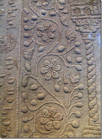 Victoria & Albert Museum. Detail tristan trapunto quilt circa 1360-1400 a.d.