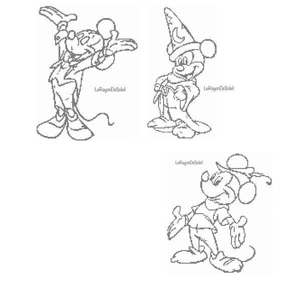 Mickey mouse cross stitch pattern set of three Mickey