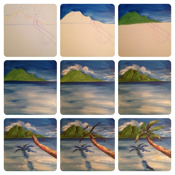 Art In Disguise | Paint. Drink. Repeat.   Hawaii, Connecticut and Florida Paint and wine party design ideas - acrylic on canvas - evolution of a painting