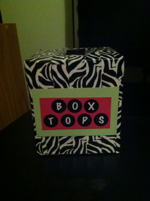 tissue box turned Box Tops holder. NEED TO DO THIS!