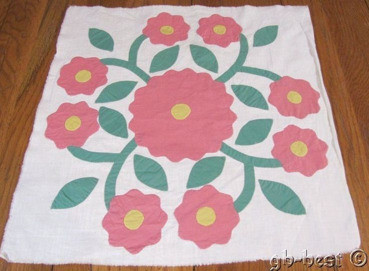 Cottage Sweet! c 30s PINK whig Rose APPLIQUE Quilt Block frame