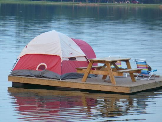 Uhhh....I ain't camping on a platform in the middle of a lake...you could roll right outta the tent and into the water!!! @Nicole Novembrino Peters