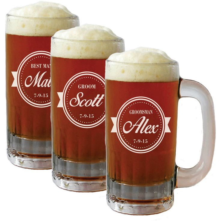 Personalized Beer Mug Glasses, Beer Mugs, Groomsmen Gift, Beer Stein, Etched Beer Mug, Groomsmen Beer Glasses, Groomsmen Beer Mug by MyPersonalMemories on Etsy https://www.etsy.com/listing/206241900/personalized-beer-mug-glasses-beer-mugs