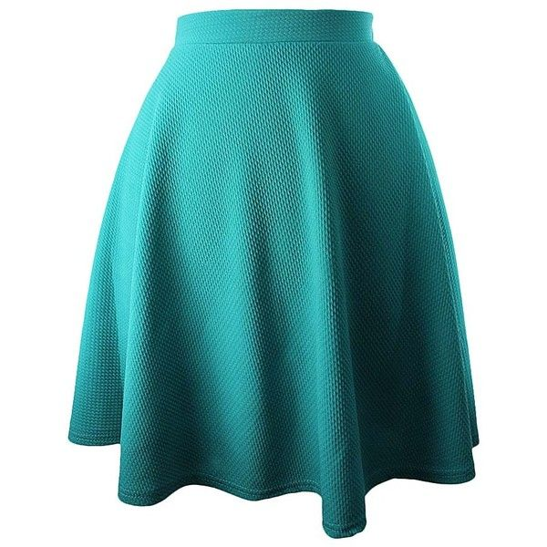 Turquoise Flared Ponte Knit Skater Skirt ($25) ❤ liked on Polyvore featuring skirts, turquoise, a line skirt, blue circle skirt, ponte skirt, ponte knit skirt and knee length skirts